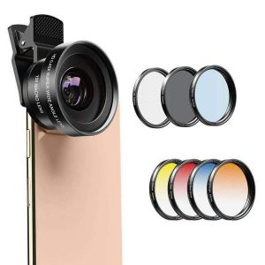 Phone Lens Kits 0.45X Super Wide Angle Macro 37/52mm CPL ND32 Grad Color Filter