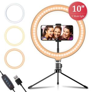 """APEXEL 10"""" 26cm LED Selfie Circle Ring Light with Stand and Phone Holder"""